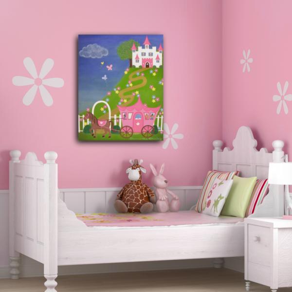 Happily Ever After Kids Art Canvas Panel Childrens Decor – Cinderella Bedroom Decor